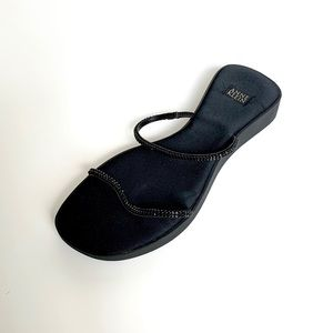 ANNE KLEIN Black Rhinestone Platform Sandals